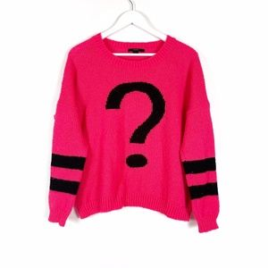 Oversized Pink Question Mark Knit Sweater